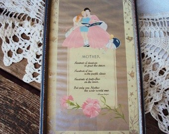 Vintage Motto Mothers Poem Picture Buzza Style Ornate Wood Frame 1920s Early 1900s Paper Ephemera Art Deco Pink Blue Son or Daughter