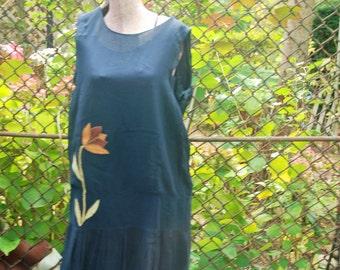 Vintage 1920s Black Art Deco Flapper Dress Novelty Flower Party Dress M/L