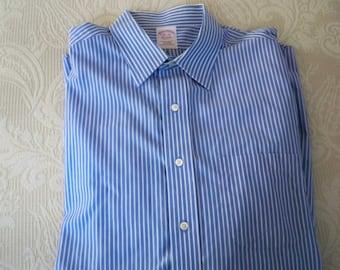 Vintage Men's Clothing Long Sleeve Shirt Blue Stripe Brooks Brothers Size 16.5 - 35