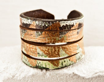 Festival Fashion Leather Cuff Small, Medium, Large - Women's Earthy Woodland Jewelry