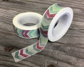 Washi Tape - 15mm - Arrow Pattern Wine, Green, Gray -Deco Paper Tape No. 127