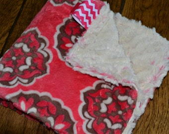 Baby Girl Minky SECURITY BLANKET/LOVEY