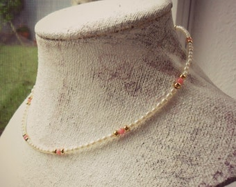 Tiny Pearls Pink Coral Necklace / Minimal Beaded Necklace / Choker Layering Necklace /  Yoga Amulet Necklace / Girls Pearl Coral Necklace