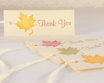 Leaves Thank You Tags Wedding Favor Tags Autumn Fall Thanksgiving Decorations Set of 30