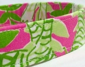Lilly Pulitzer Fabric Dog Collar Girl Classic Pink Green Jungle Road