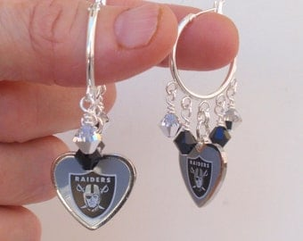 Oakland Raiders Earrings, Raiders Bling. Silver and Black Crystal Hoops, Pro Football Earrings, Football Raiders Jewelry Accessory