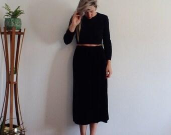Velvet Skirt Vintage Maxi Black