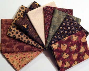NEW Bear Paws Quilt Craft Fabric Bundle of 9 Fat Quarters - Red Bee Skeps, Browns and Greens