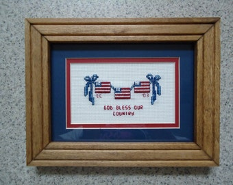 God Bless Our Country - Inspirational Cross Stitch Picture- Patriotic Wall Decor