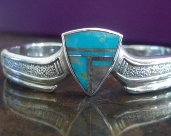 Turquoise and Sterling Mosaic Cuff Bracelet
