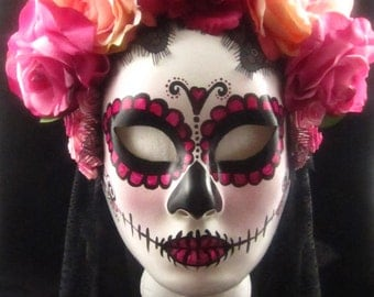 OOAK Rose Garden Mask, Day of the Dead/Dia de los Muertos Mask with Pink and Peach silk roses and black trailing lace