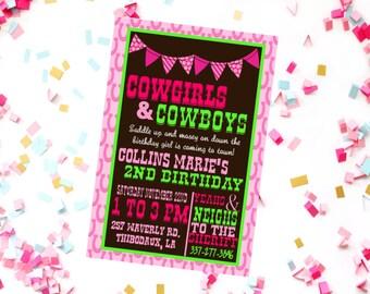 Cowgirl Birthday Invitation - Cowgirl Party - Country Girl Birthday - Pink Cowgirl Party - Western Party