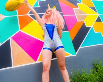Space Cadet - Sequin Leotard with Fringing