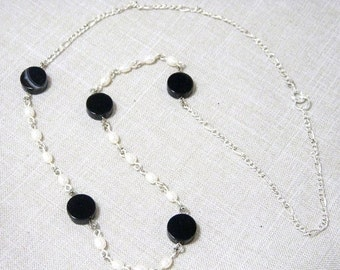 SALE 30% Necklace, White Pearls, Black Agate, 21 inches, N354