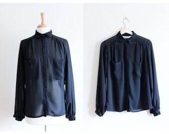 Vintage Black Sheer Chiffon Slouchy Button Down