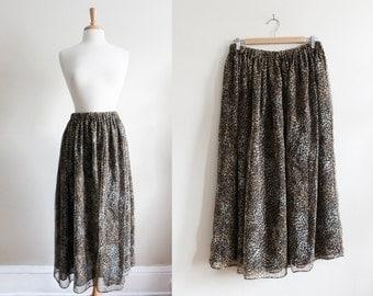 SALE Vintage Leopard Print Chiffon Full Midi Skirt