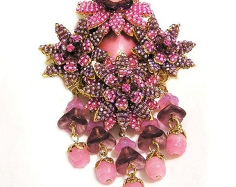 Stanley Hagler Ian St Gielar Pink and Light Amethyst Floral Brooch