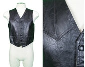 Leather Vest / Moto Leather Vest / 70s Boho Leather Vest / Rock and Roll Black Leather Vest / Mens 70s Leather / Mens Hippie Leather Vest