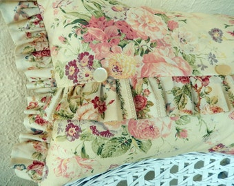 Ruffles Galore on this Cottage Style Shabby Chic Pillow with pinks and roses