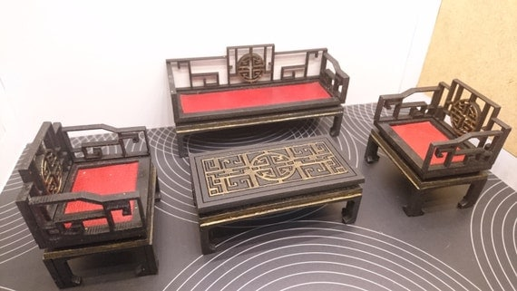 Chinese furniture, living room set with 2 armchairs, 1 sofa and 1 tea table. Miniature 1/12 scale for dollhouses