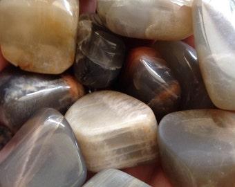 BLACK MOONSTONE Crystal & Energy Enhancing Metaphysical Polished Tumbled Pocket Lucky Charm Dream Gem