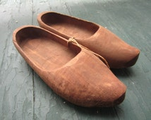 Vintage Hand Carved Wooden Shoes Rustic Decor