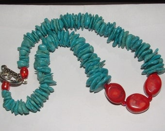 "my own design-HOWLITE CORAL COMBO-great quality-necklace  18"" hefty -fab clasp excellent deal too"