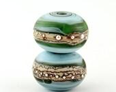 Handmade Lampwork Glass Bead Set Blue Aqua Caribbean Sea Earring Pair