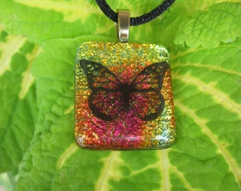 Butterfly Fused Dichroic Glass Pendant