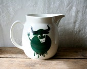 Arabia Finland Bull Milk Pitcher Green Kaj Franck Cow SALE