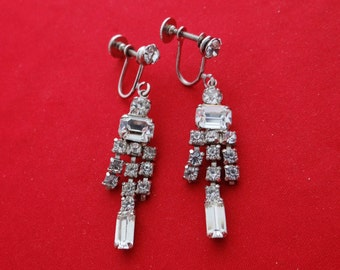 """Vintage 2"""" silver tone earrings with shiny clear rhinestones  in great condition"""