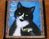 Decoupage cigar box with Tuxedo Cat Art by Heidi Shaulis. Charlie Smoking a Catnip Cigar