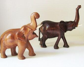 Vintage Wooden Elephants, Mismatched Hand-carved Pair