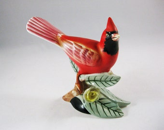 Ceramic Cardinal Bird Figurine