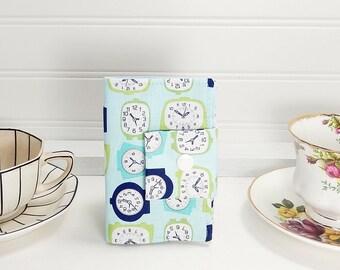 Tea wallet, travel teabag case, clock print fabric, teabag wallet, time for tea, wallet for tea bags