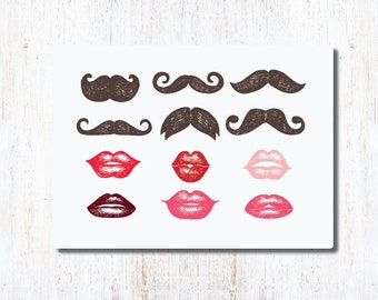 DIY Printable Lips and Mustaches, photo props, paper straw, gift tag, scrapbook