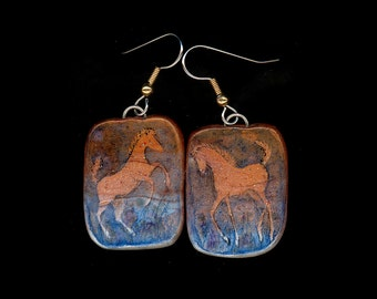 Horse Jewelry: The Chestnut Foal at Play Earrings. Ink Drawing on Polymer Clay. Copper Red, Blue and White. 3667