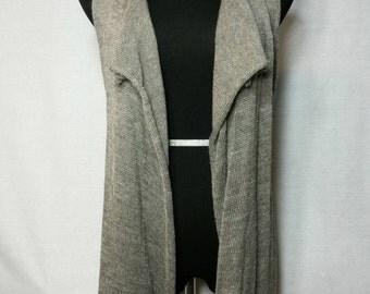 Drape Knit Vest, Knit Alpaca Vest, Natural Fiber Vest, Natural Grey Color, Home Grown Alpaca