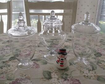 vintage apothecary jars  /  3  jars