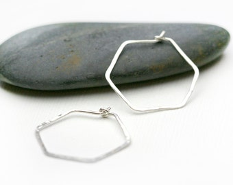 Small Hex hoops - lightweight hoops - hexagon hoop earrings - simple large hoop earrings, Geometric Hoops