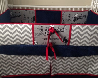 Navy gray REd sports Baby bedding Boy Crib set DEPOSIT Down payment ONLY read details