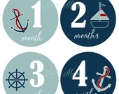 GIFT, Nautical Stickers, Baby Monthly Stickers, Baby Month Stickers, Anchor, Sailboat, Milestone Stickers, Nautical Nursery Decor
