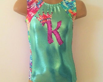 Gymnastic Dance Leotard. Hot Pink Purple Leotard with a Number and Crown Applique. Birthday Leotard. CHOOSE YOUR COLORS. Size 2T - Girls 12