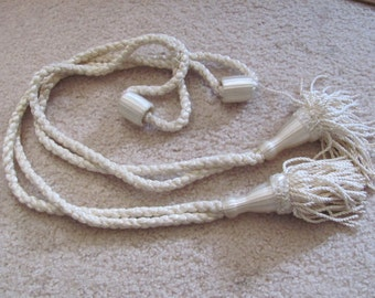 Set of 2 Vintage Large Long White Drapery Tassel Rope Tie Backs