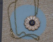 Vintage Virgo Zodiac Starburst Charm Pendant on Goldtone Chain Link Necklace