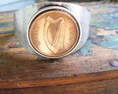 PRIVATE LISTING for CLAIRE- Authentic 1967 Irish  Coin Cuff Bracelet-1967 Irish Penny
