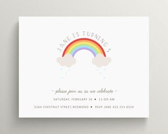 rainbow kids birthday invitation set  // baby shower // thank you note // clouds  // over the rainbow // bridal shower // oz // dorothy
