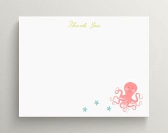 octopus and starfish note card set  //  baby shower  //  under the sea party  //  ocean  // birthday invitation // stationery // package