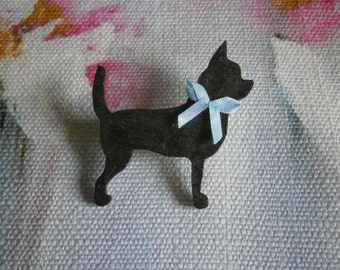 Black Chihuahua  Dog Brooch Pin Badge Handmade Painted Wooden Boxed Pet Jewellery Jewelry