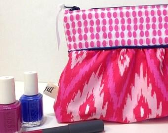 Hot Pink Ikat and Polka Dot Zippy Cosmetic Bag